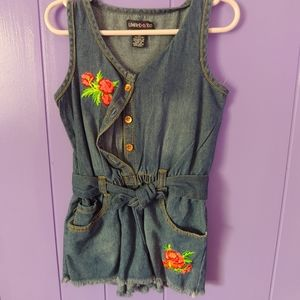 Girls Jean Romper With Floral Patches
